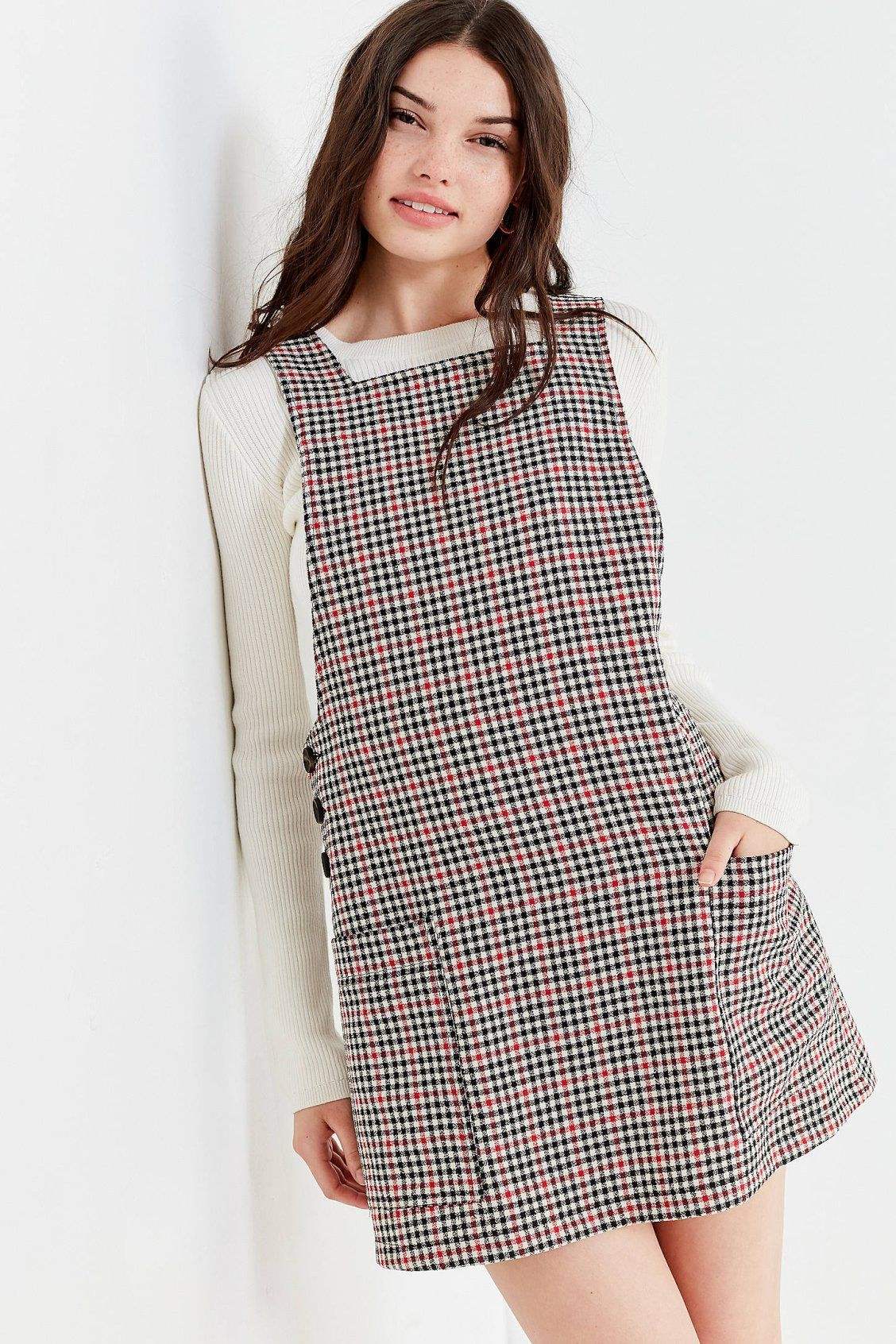 75df40389a UO Checkered Pinafore Dress