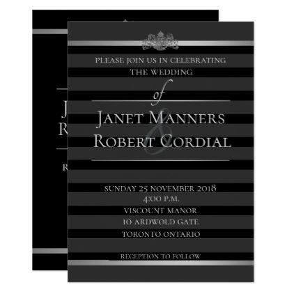 Black Silver Tuxedo Stripe Formal Elegant Wedding Card Wedding - formal invitation style