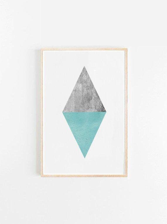 Minimalist Art, Triangle Print, Geometric Art, Geometric Wall Art, Diamond print, Scandinavian Art,