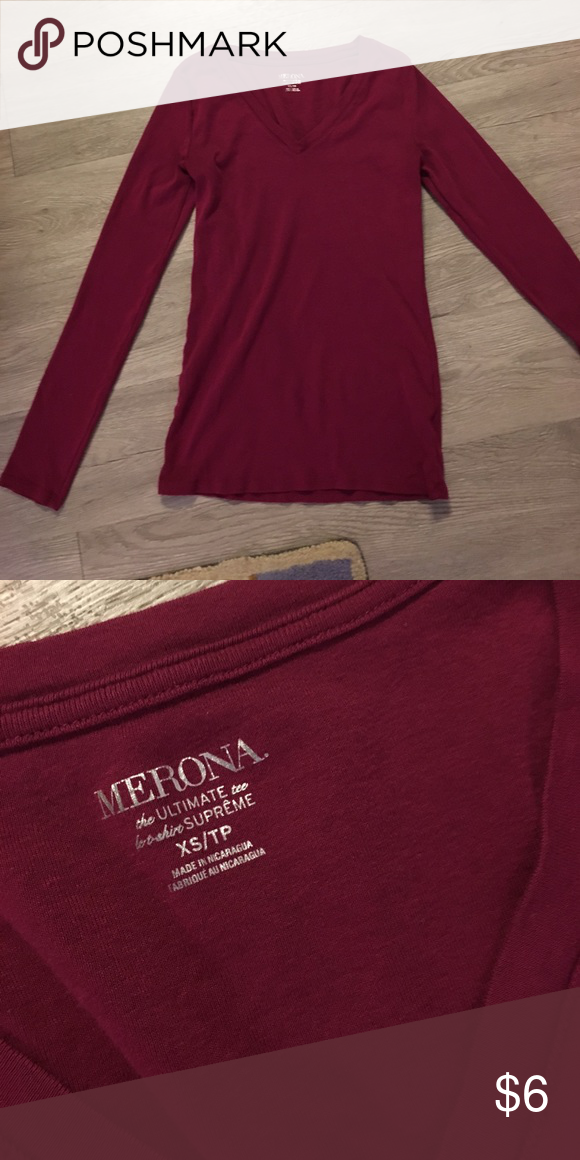 Merona Ultimate Tee Long sleeve v-neck tee. No stains. Raspberry color. Great for layering. Merona Tops Tees - Long Sleeve