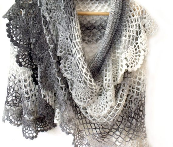 Bridal crochet cape Boho bridal cape Gray crochet shawl Lace crochet ...