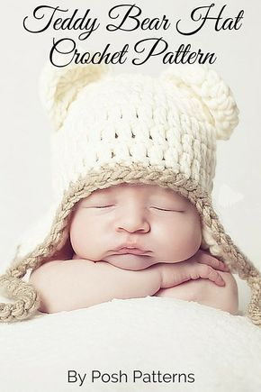 3f9c35c5fd7 A cute Teddy Bear Hat Crochet Pattern that is perfect for boys and girls!  By Posh Patterns.
