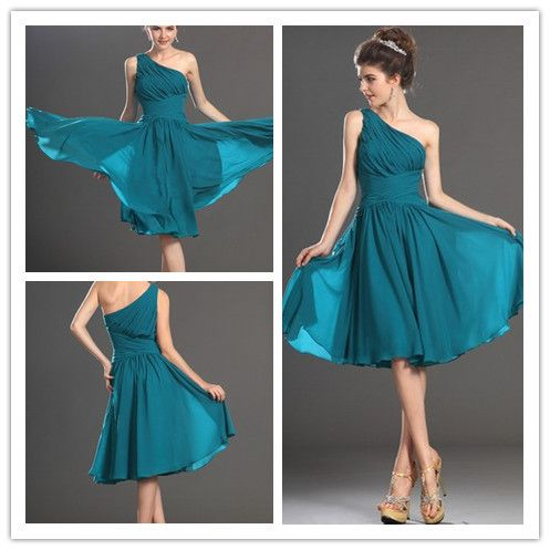 2014 new arrival one shoulder teal chiffon formal evening dresses short prom gown