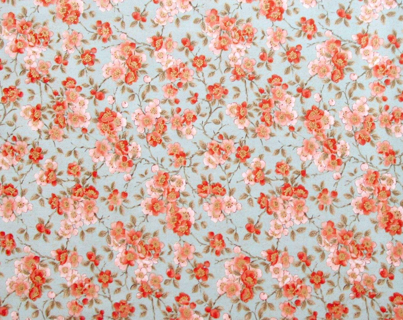 Flowers Floral Fabric - Coral Pink Orange Teal Blue Metallic Gold ...