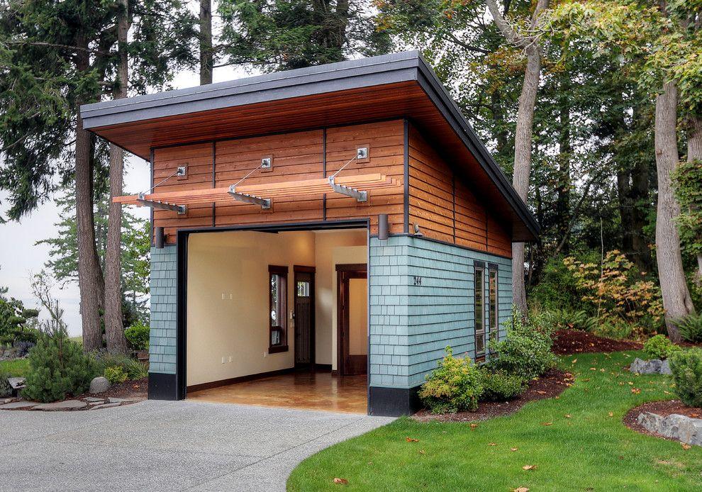 Exterior Siding Ideas Shed Contemporary With Guest House Landscape Design Garage Door Wall Sconces Wood Ceiling Outdoor Modern Garage Garage Design Shed Design