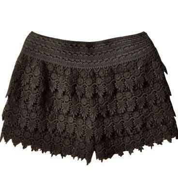 Sheinside - Black Layered Crochet Lace Shorts
