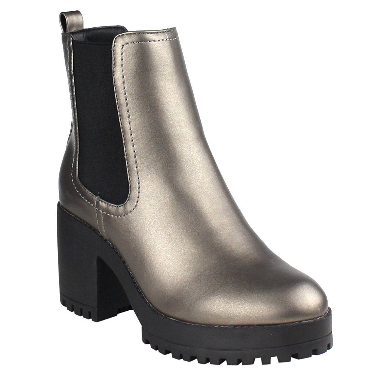 EJ03 Women's Elastic Goring Pull On Platform Heeled Chelsea Ankle Booties