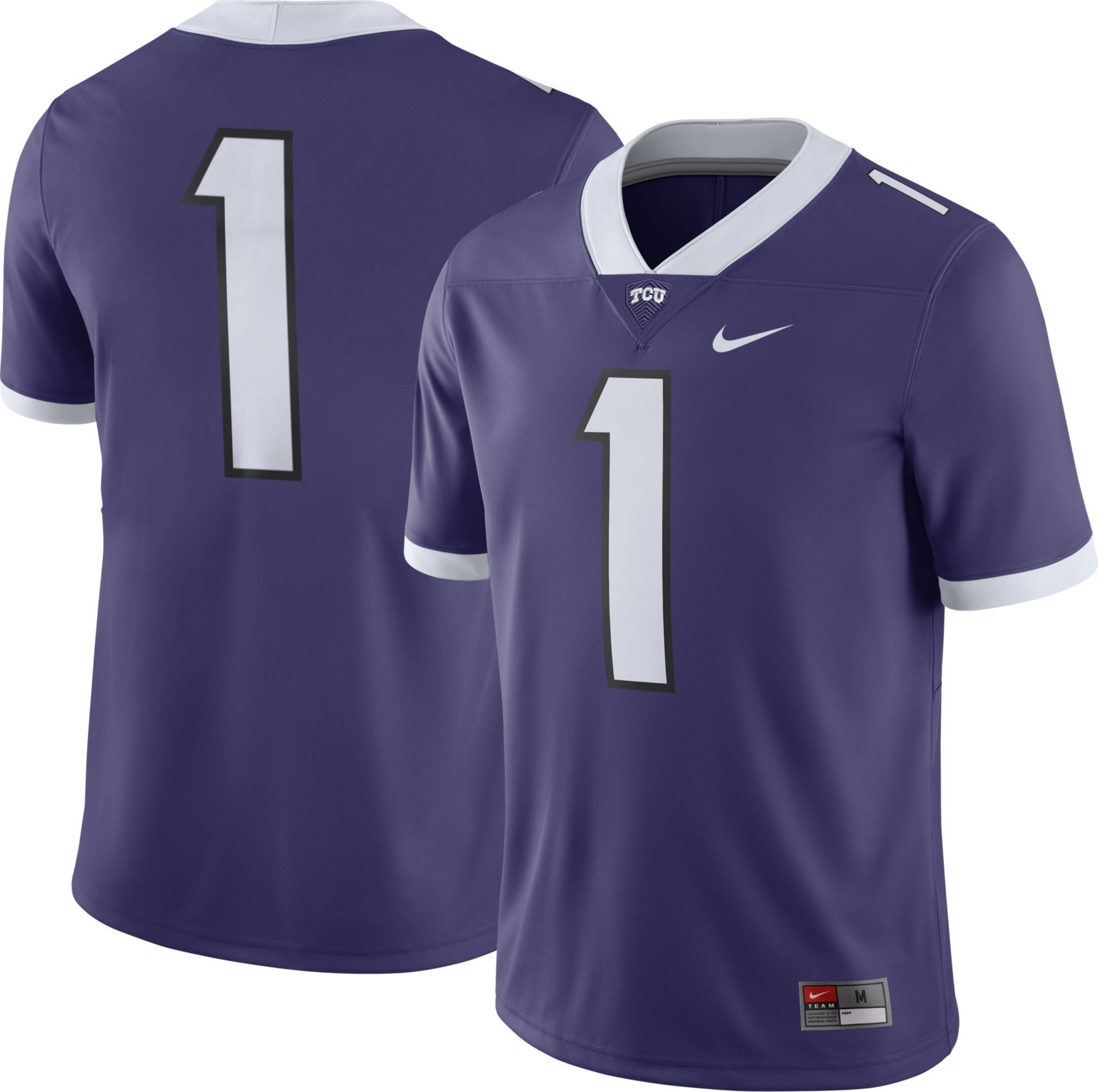 74891fb8341 Nike Men's TCU Horned Frogs #1 Purple Game Football Jersey ...