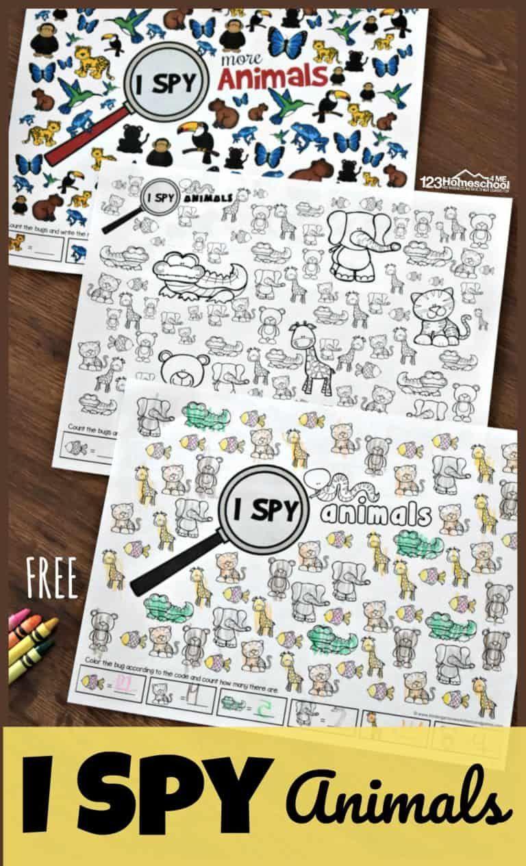 Free Printable Animal I Spy Worksheets Animal Crafts Preschool Free Preschool Fun Worksheets [ 1265 x 768 Pixel ]