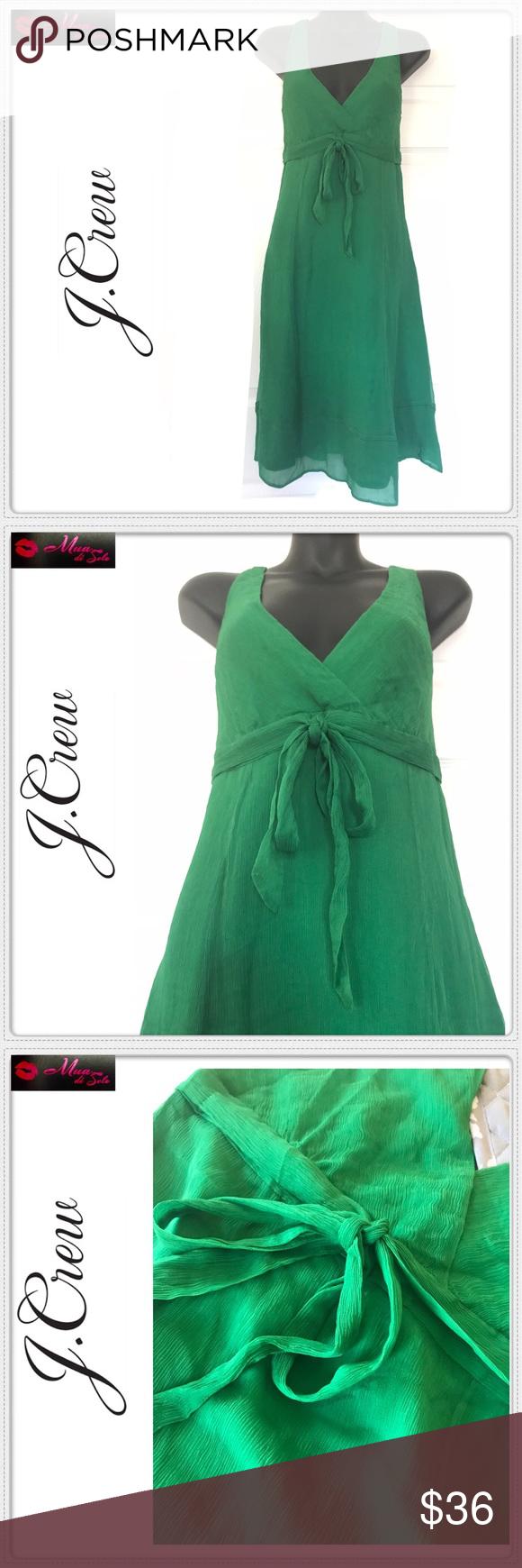 Green dress v neck  J CREW  SILK EMERALD GREEN DRESS Beautiful and classy Vneck