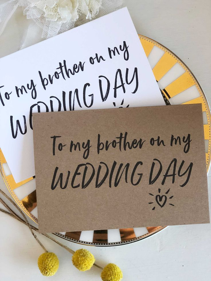 On My Wedding Day Card To Brother Of The Bride Groom Gift