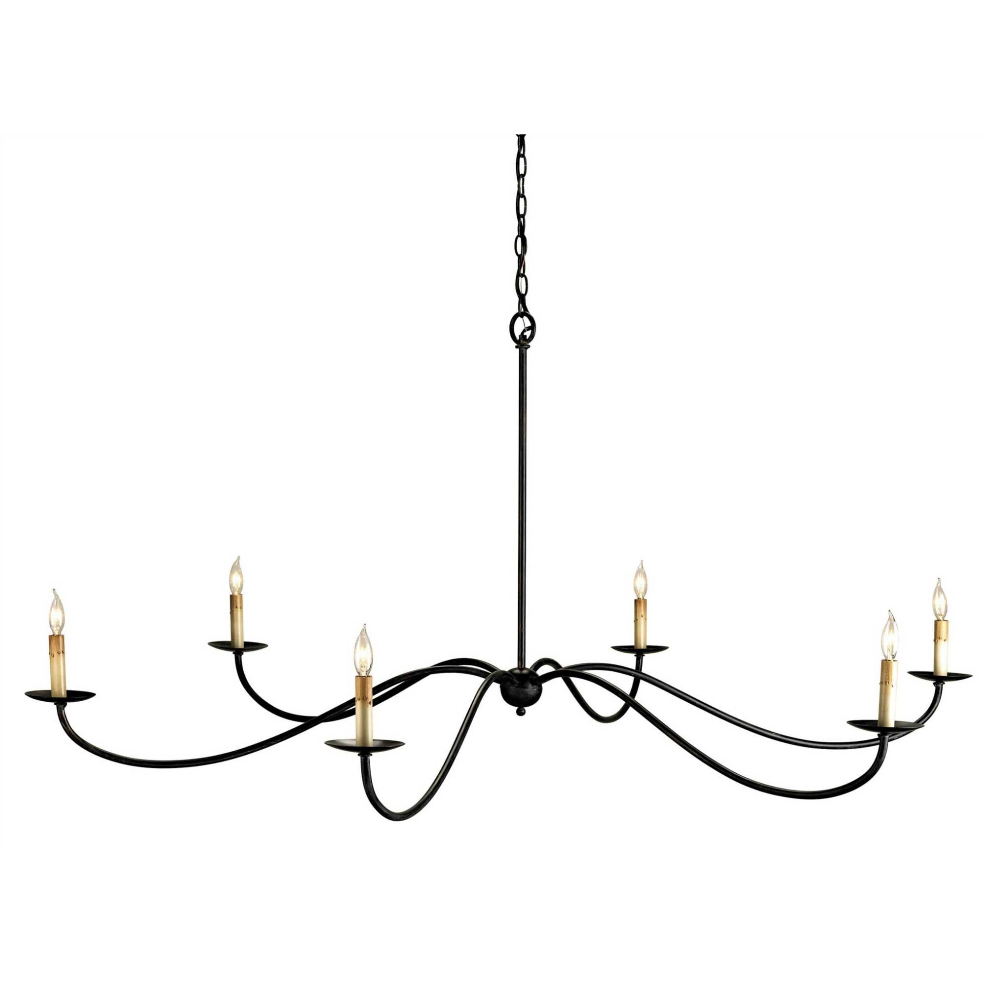 Saxon Chandelier Features Delicate Wrought Iron Arms Reaching Out