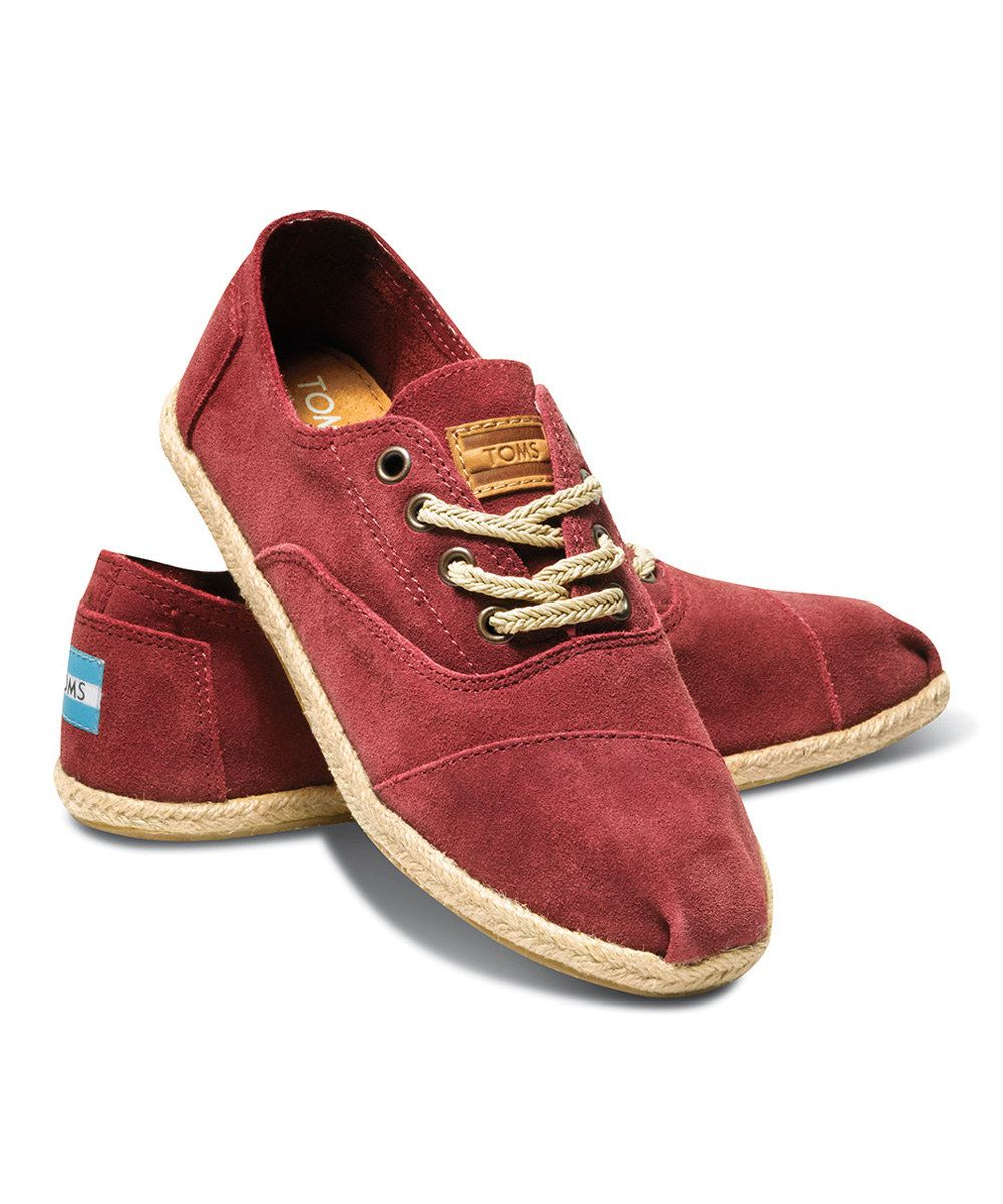 1cf2acb4325 Burgundy Suede Womens Cordones by TOMS - Gonna get these too.