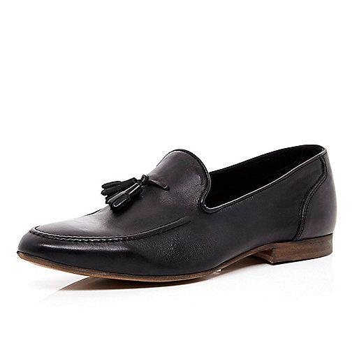 Black tassel trim loafers - loafers - shoes / boots - men