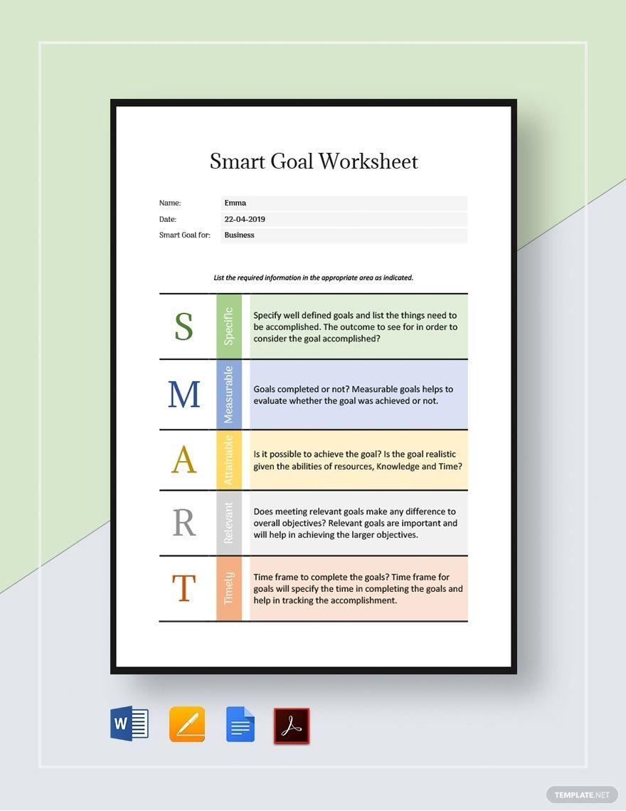 Smart Goal Worksheet Template Word Google Docs Apple Pages Pdf In 2020 Smart Goals Worksheet Goals Worksheet Smart Goals