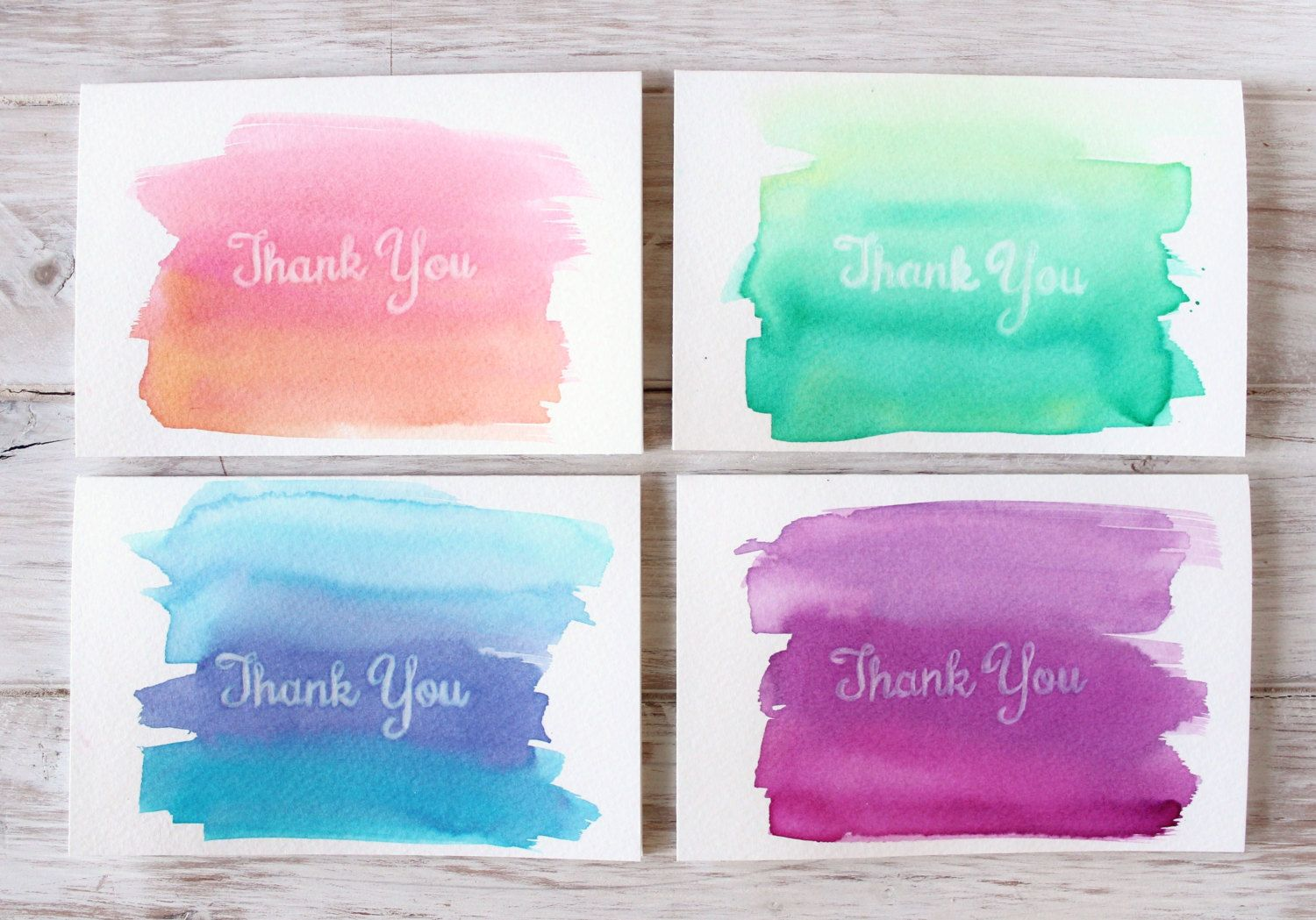 Watercolor Thank You Cards Set Of 4 Vivid Brights Hand Painted
