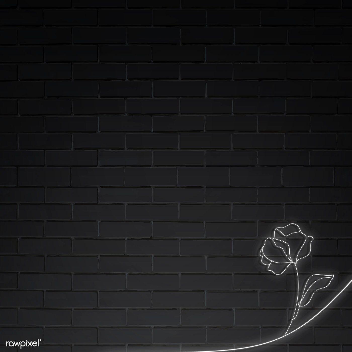 Download Premium Vector Of Neon Lights Flower On Black Brick Wall Vector Black Brick Wall Black Brick Brick Wall Background