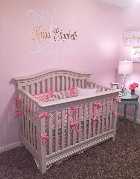 Pink And Gold Chevron Polka Dot Crib Bedding Custom Bebe Textiles Cot Sets