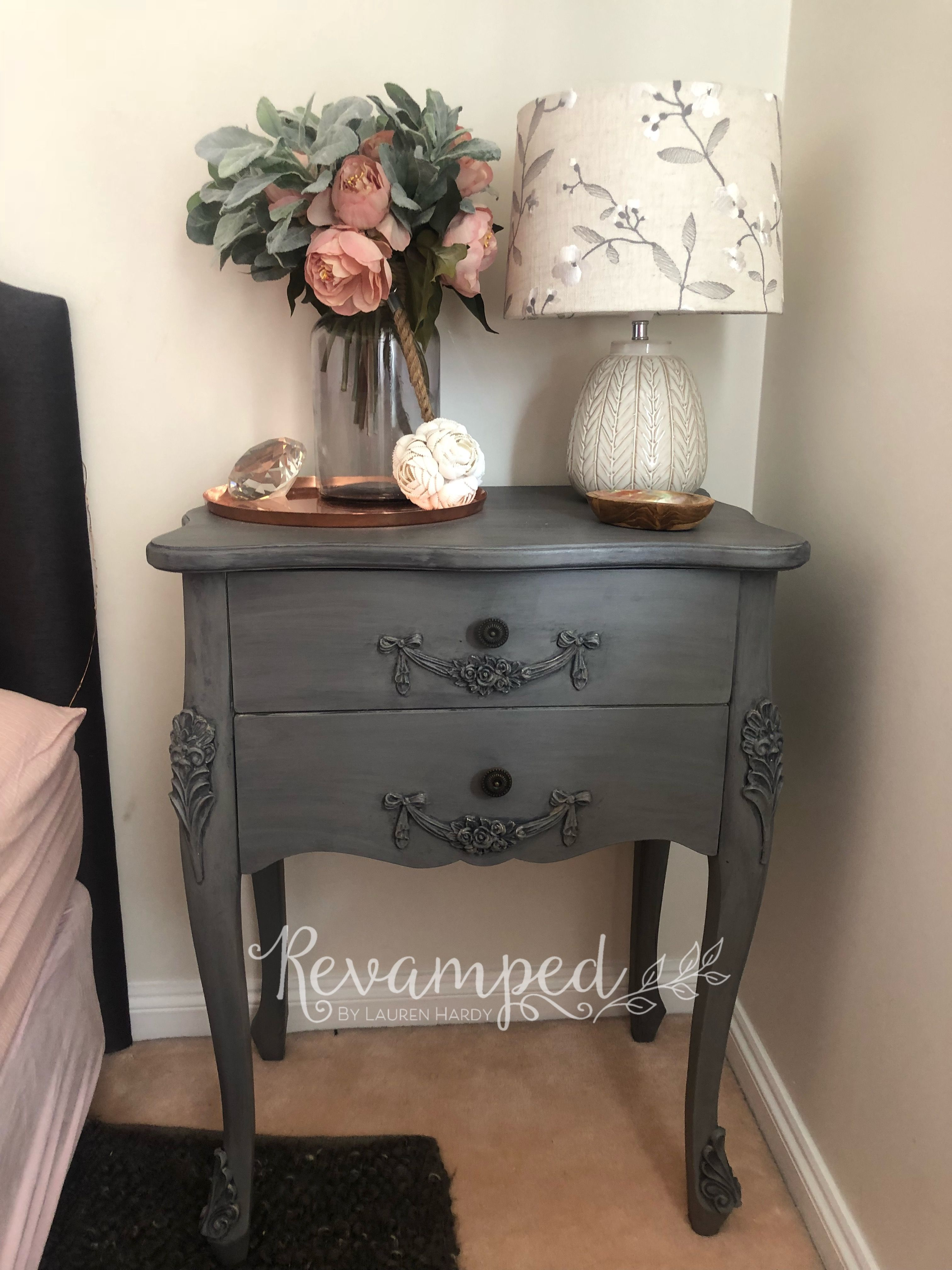 Grey Bedside Tables: Bedside Table Chalk Painted Grey With Dark Glaze
