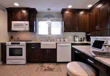Espresso Cabinets White Appliances Roosevelt Kitchen White