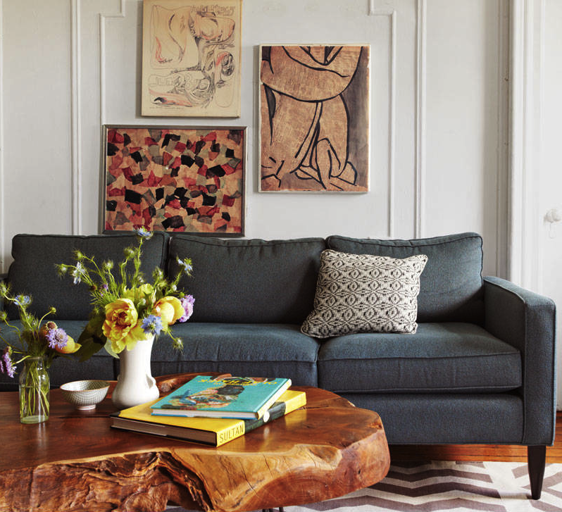 twelve chairs boston: magazine monday > funkier pieces such as a graphic rug, art fair finds and a chunky wood coffee table with classic neutrals such as a clean lined grey sofa and white walls