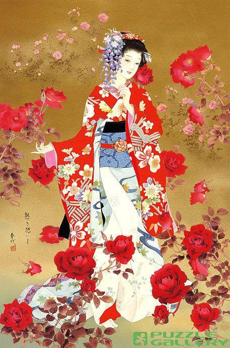 peintures kimono qipao hanfu hambok pinterest peinture japonais et style japonais. Black Bedroom Furniture Sets. Home Design Ideas
