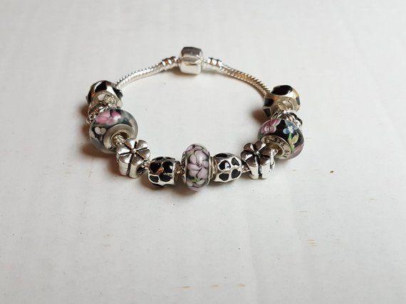 Charms Bracelet Bangle for Women Crystal Beads Fit Original Cœur Argent Bijoux