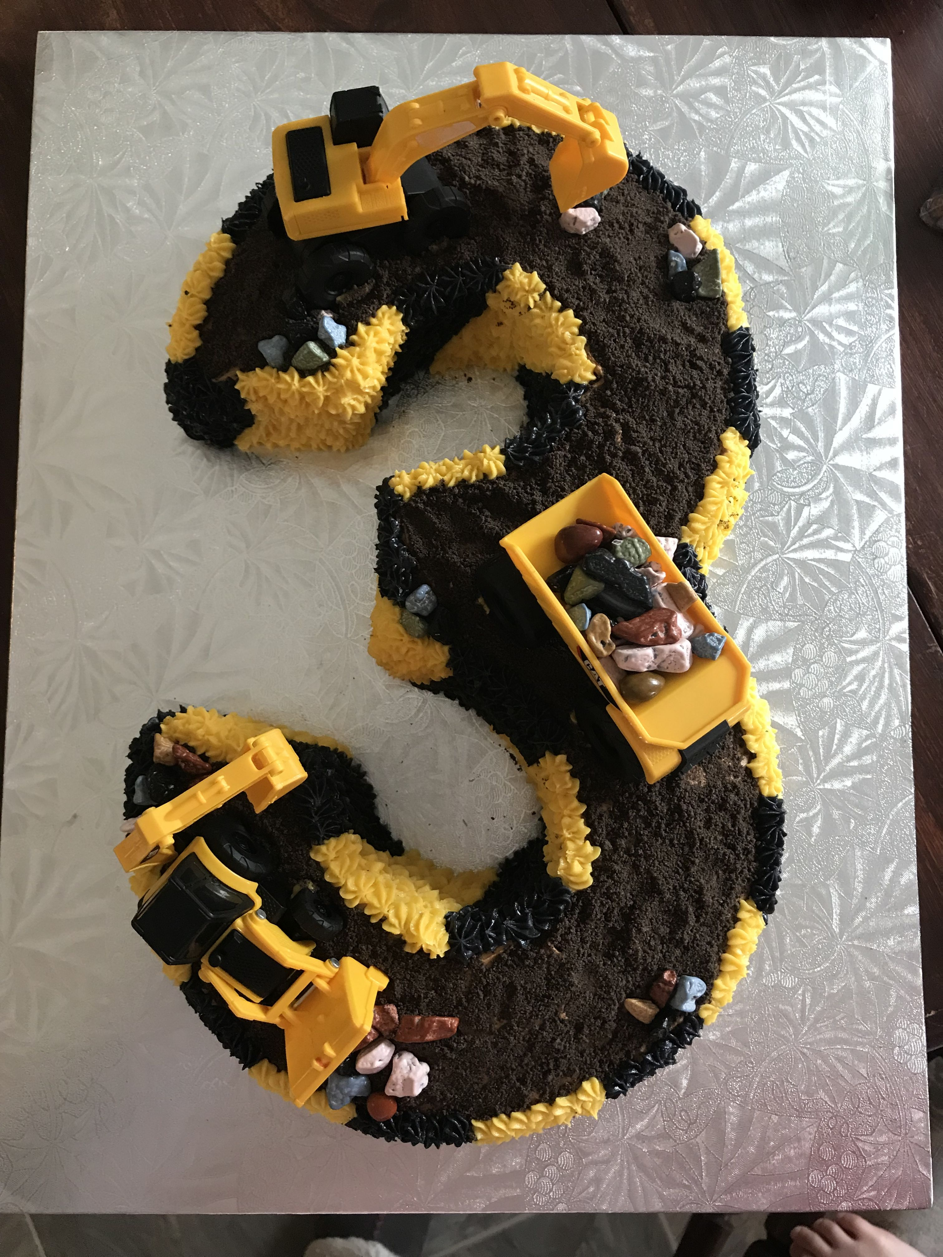 Number 3 Construction Cake Construction Cake