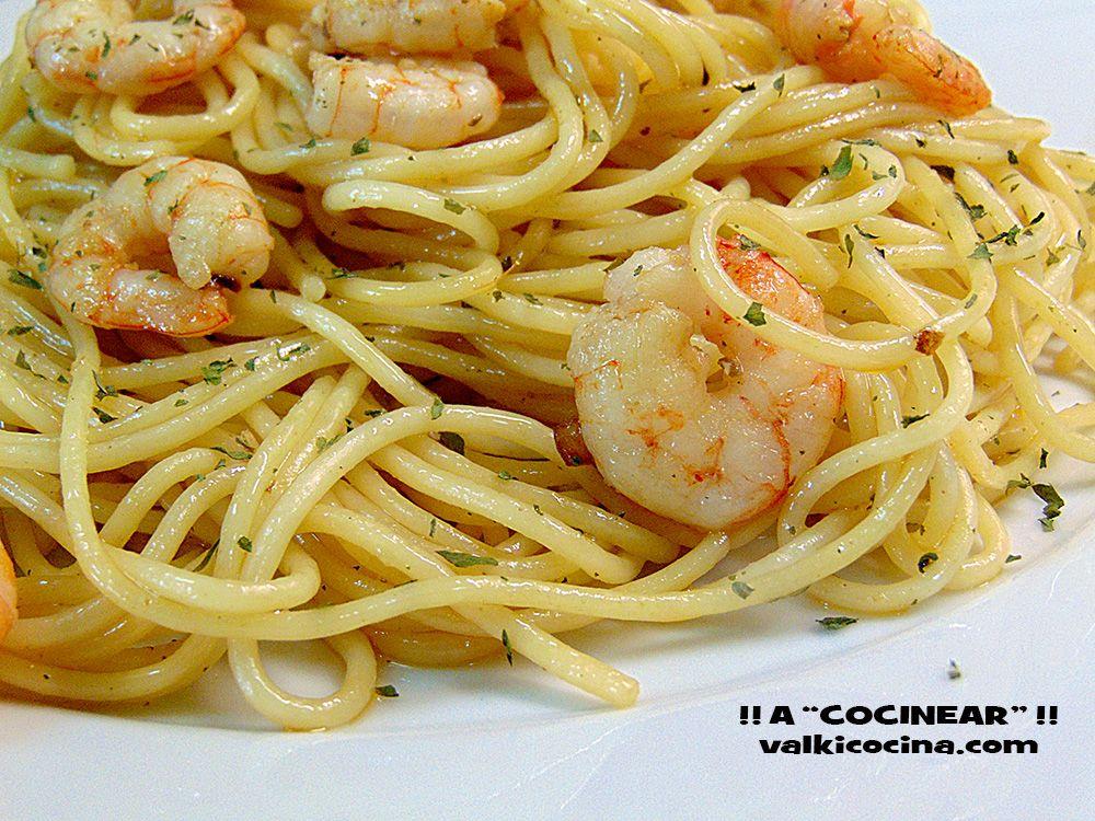 Espaguetis Con Gambas Al Ajillo Espaguetis Gambas Al Ajillo Recetas De Pastas