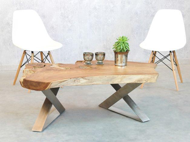 COUCHTISCH Rustico Massivholz Teak Planke 120cm ein Stück