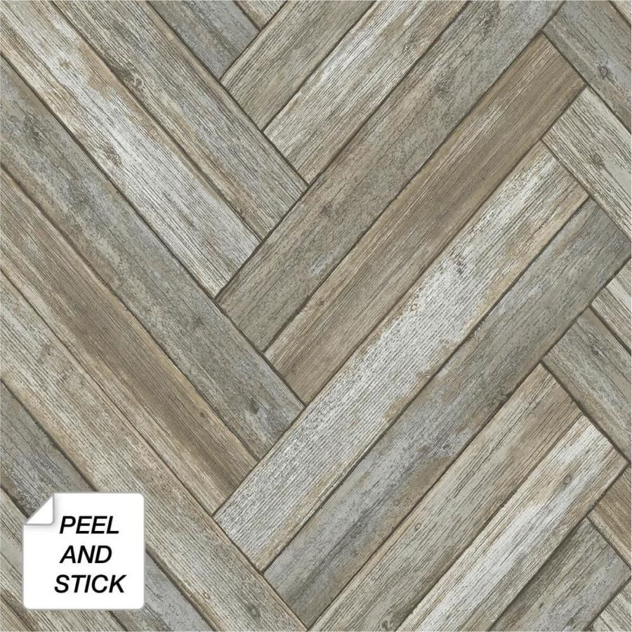 Nextwall 30 75 Sq Ft Taupe And Beige Vinyl Wood Self Adhesive Peel And Stick Wallpaper Lowes Com In 2020 Stick On Wood Wall Peel And Stick Wallpaper Faux Wood Wall