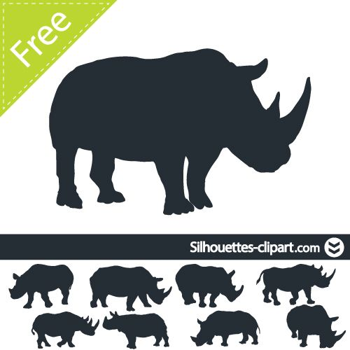 Rhino vector silhouette | silhouettes clipart | Rhinos | Pinterest ...