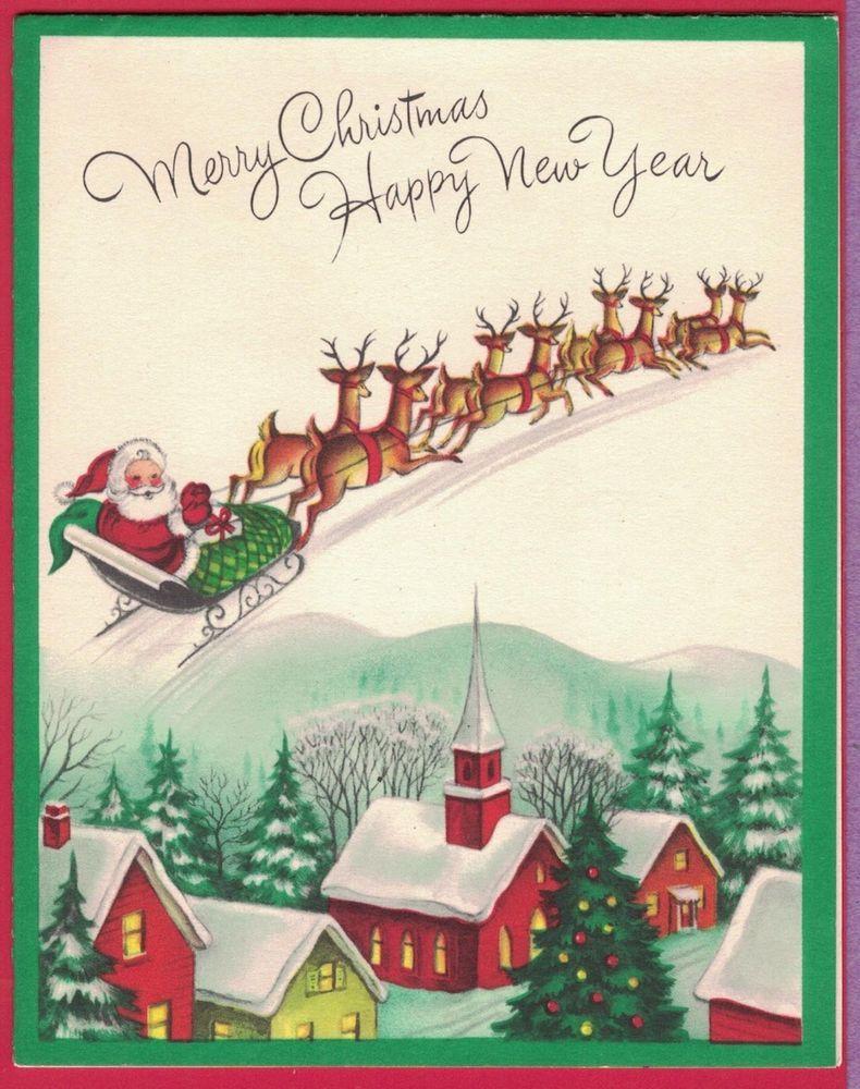 Vtg Mc Christmas Card Santa In Sleigh Reindeer Fly In Sky Over Village Mountain Ebay Vintage Christmas Cards Christmas Card Inspiration Christmas Card Images