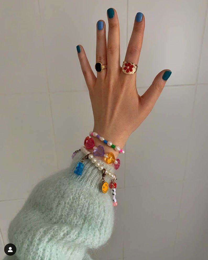 Chunky Facetted heart bracelet, true 90s style fri