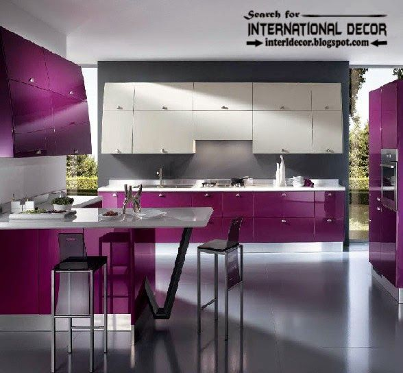 How To Choose Best Kitchen Colors 2016 Modern Purple Kitchens Designs