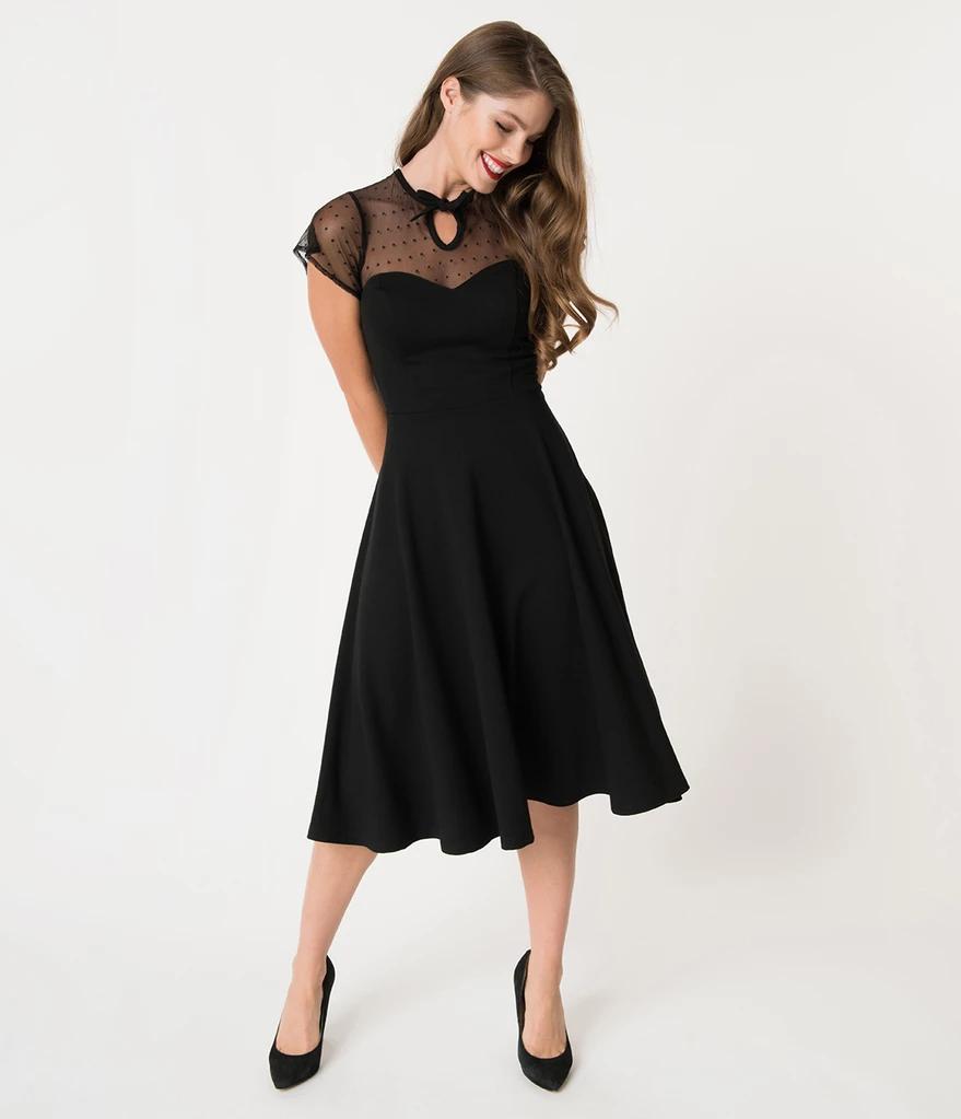Unique Vintage 1940s Style Black Swiss Dotted Mesh Heather Midi Dress Unique Dresses Black Cocktail Dress Vintage Dresses [ 1023 x 879 Pixel ]