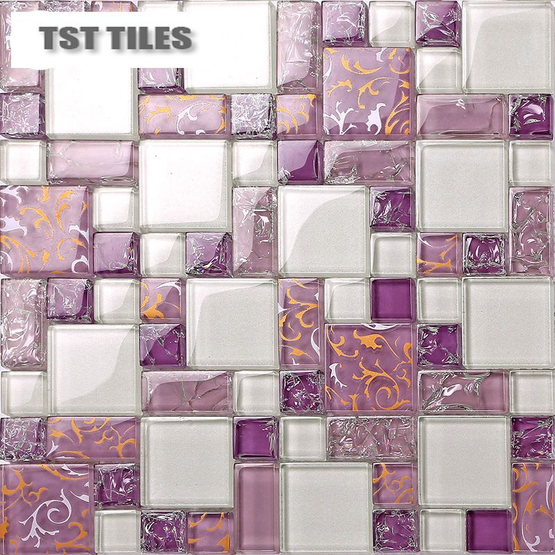 Inner Crackle Glass Mosaic Tile Art Purple Glass Tile Backsplash