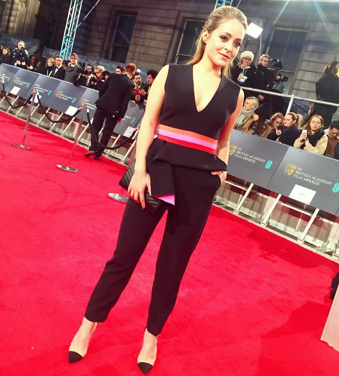 My outfit for this evening! @RoksandaIlincic Jumpsuit @GianvitoRossi Heels and @YSL Clutch - Massive thank you to @LibertyLondon for dressing me & @evianwater for inviting me! #EEBAFTAs #BAFTADeForce Hair by @CWHairLondon Makeup by me  by fleurdeforce