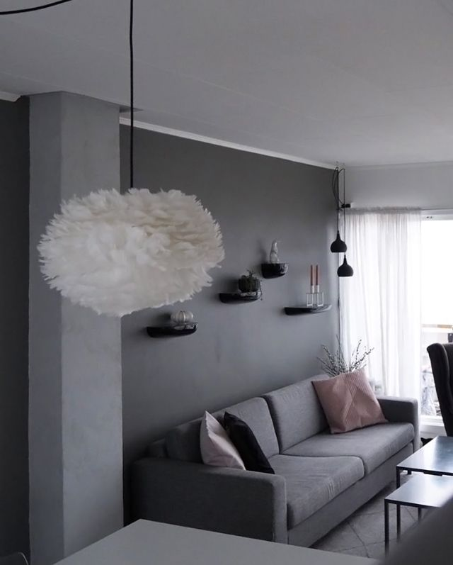 A Grey, Pink And White Living Room By @bjerkan.interior. Vita Eos