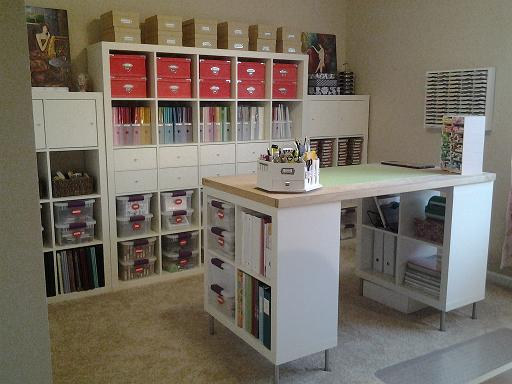 Ikea Expedit Shelving Units Craft Island By Jacqueline At Splitcoaststampers Craft Tables With Storage Ikea Crafts Craft Room