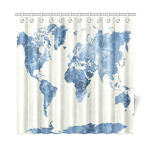 Interestprint World Map Custom Shower Curtain 72 X 72 Inches Polyester Fabric Bathroom Sets Hom Custom Shower Curtains Cute Shower Curtains Bathroom Decor Sets
