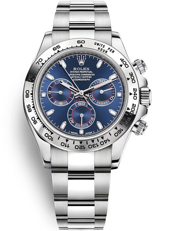 116509 Rolex Cosmograph Daytona White Gold Blue Dial 40 mm Watch