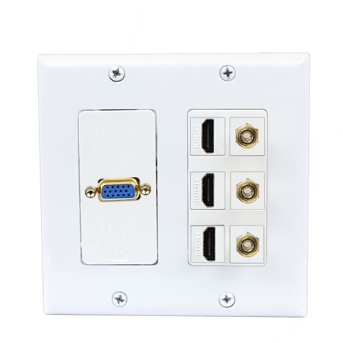1port Vga Jack Connector 3port Hdmi And 3port Banana Binding Post Wall Plate Plates On Wall Wall Plates