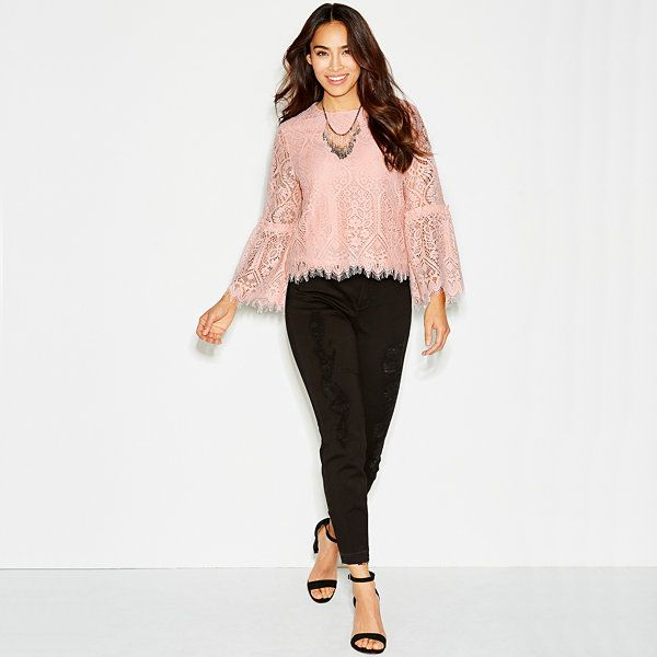 Worthington Long Bell Sleeve Lace Blouse - JCPenney