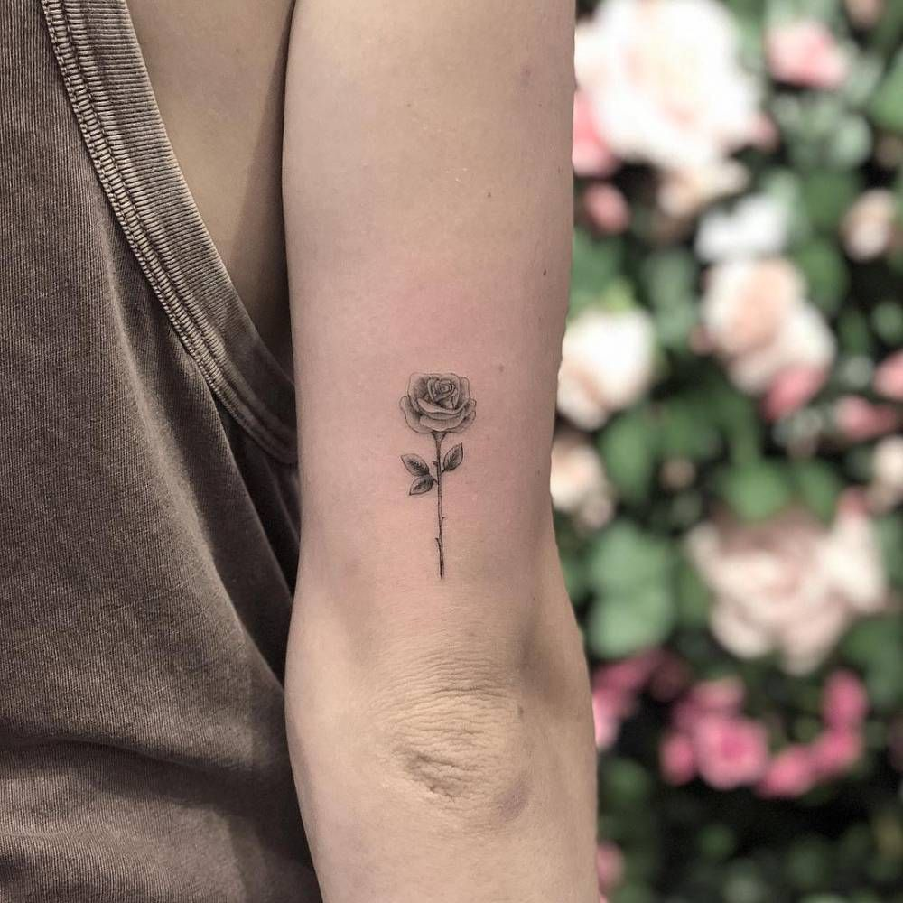 Single Needle Rose Tattoo On The Back Of The Right Arm With