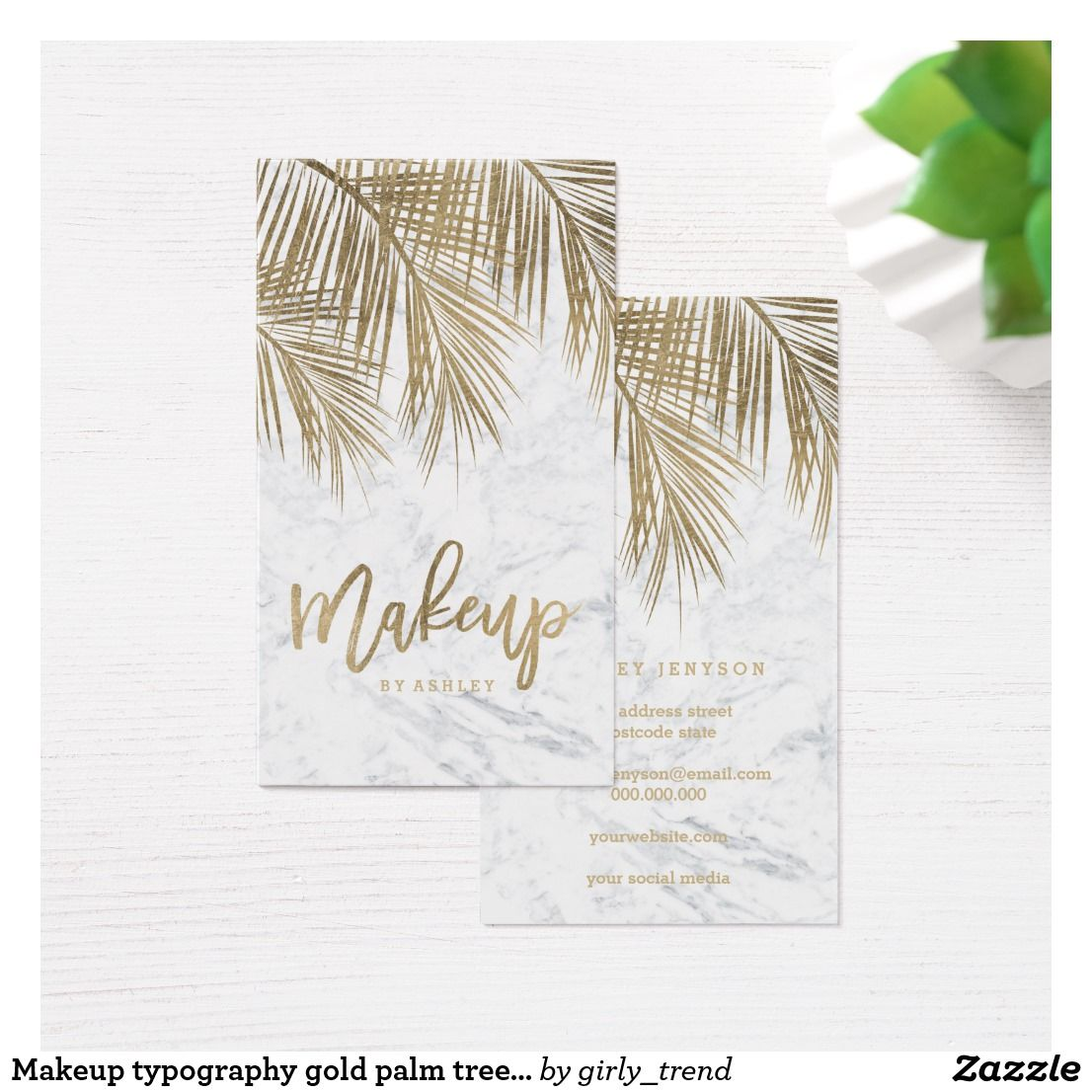Makeup typography gold palm tree leaf marble business card palm makeup typography gold palm tree leaf marble business card colourmoves
