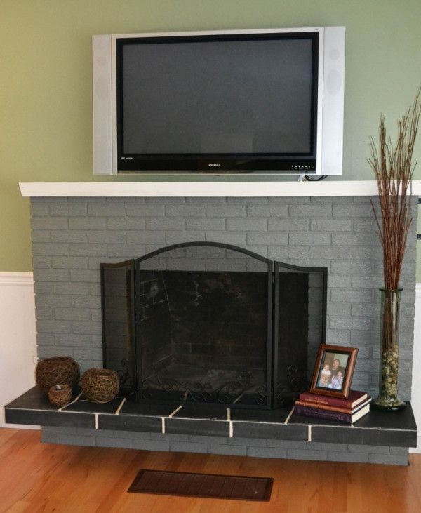 Decoration Beauty Painted Brick Fireplace Ideas Gray Also Tall Clear Glass Floor Vase For Dry