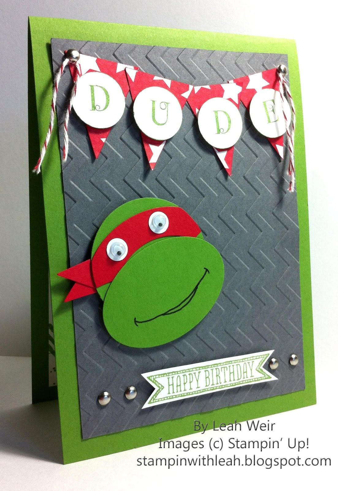 Morning Today S Card Is An Other Male Card I Made For A 6 Year Old Who Is Having A Teenage Mutant Ninja Turtle Themed Party So It Cards Kids Cards Boy Cards