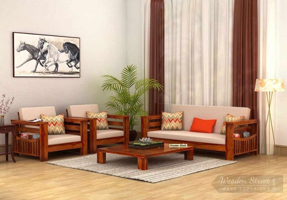 Buy Sereta Wooden Sofa Set Honey Finish Online In India Wooden Street Wooden Sofa Set Designs Sofa Set Designs Living Room Sofa Design