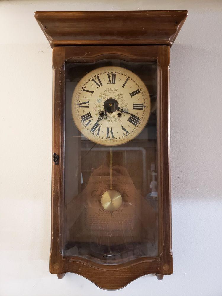 New England Clock Company 8 Day Wind Up Pendulum Wall Clock Pendulum Wall Clock Clock Vintage Clock